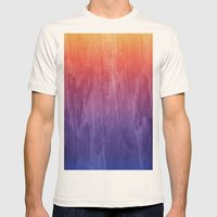 Purple, Pink, Orange Watercolor Gradient Mens Fitted Tee Natural SMALL