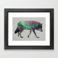 Wolf In The Aurora Borea… Framed Art Print