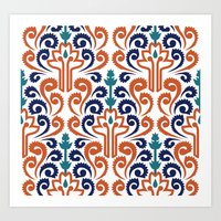 Adobe Damask Art Print
