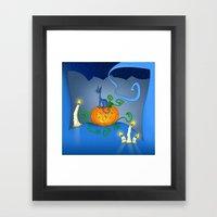 Halloween - Cat On Pumpkin Framed Art Print