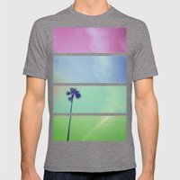 Palm Tree Mens Fitted Tee Tri-Grey SMALL