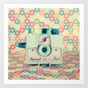 Film Mint Camera on a Colourful Retro Background  Art Print