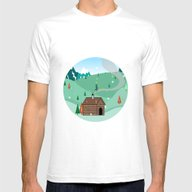 Mountain Christmas Mens Fitted Tee White SMALL