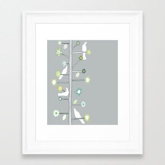 Birds and flowers Framed Art Print