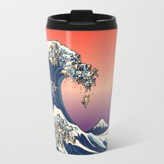 The Great Wave of Pug   Travel Mug