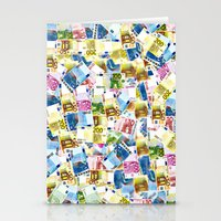 Colorful Euros Pattern Stationery Cards