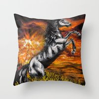 It's always sunny in philadelphia, charlie kelly horse shirt, black stallion Throw Pillow