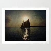 Sailing At Twilight Art Print