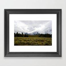 Foggy Yellowstone Landscape Framed Art Print