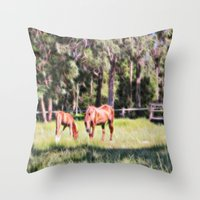 Horse And Foal Feeding I… Throw Pillow