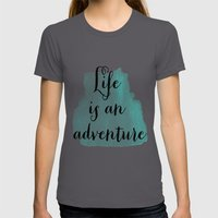 Life Is An Adventure Womens Fitted Tee Asphalt SMALL