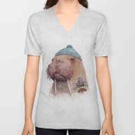 Unisex V-Neck featuring Tattooed Walrus by Animal Crew