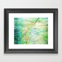 Green Painted Leaf Framed Art Print