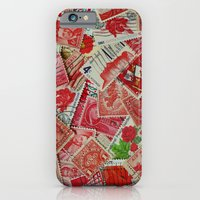 Vintage Postage Stamp Collection - Red iPhone 6 Slim Case