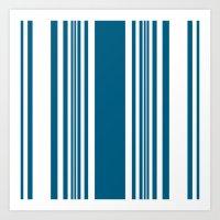 Egyptian Blue and white stripes Art Print