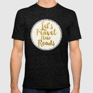 Let's Travel New Roads Mens Fitted Tee Tri-Black SMALL