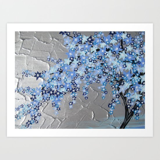 Blue Cherry Blossom With Silver Grey Gray White Tree Trees