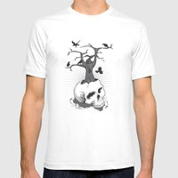 Skull and Tree Mens Fitted Tee White SMALL