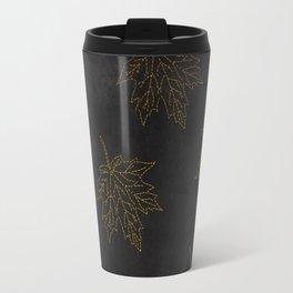 Travel Mug - Autumn-world 3 - gold leaves on black chalkboard - Simplicity of life