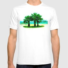 Tropical Tree Trio Mens Fitted Tee SMALL White