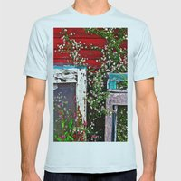 Window Flowers Mens Fitted Tee Light Blue SMALL