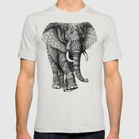 Ornate Elephant v.2 Mens Fitted Tee Silver SMALL