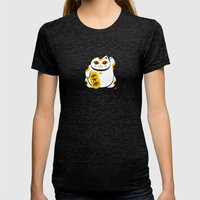 Lucky Cat 2 Womens Fitted Tee Tri-Black SMALL
