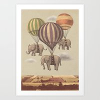 cute Art Prints featuring Flight of the Elephants  by Terry Fan