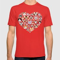 I LOVE CATS Mens Fitted Tee Red SMALL