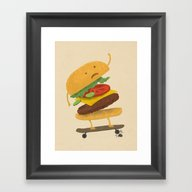 Burger Wipe-out Framed Art Print