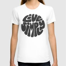 Live Simply Womens Fitted Tee White SMALL