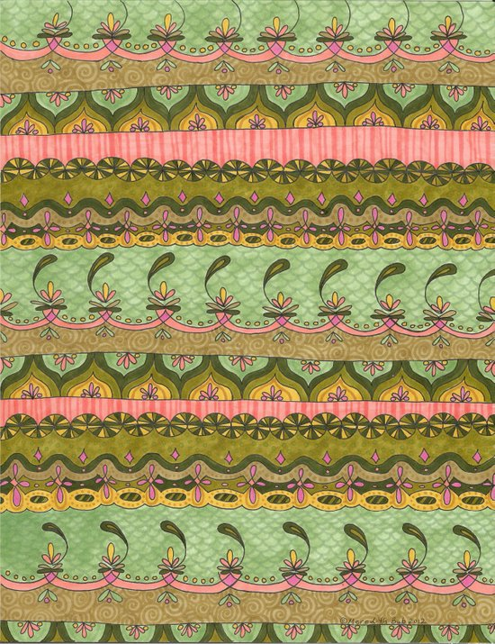 Pink and Green Pattern Art Print