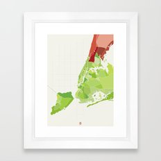 New York City Colored Framed Art Print