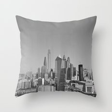 Black and White Philadelphia Skyline Throw Pillow