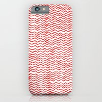 iPhone & iPod Case featuring Red Wavy Chevrons by natsnats