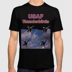 USAF Thunderbirds In Diamond Formation Mens Fitted Tee Black SMALL