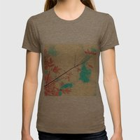 Pink Fall Leafs On Retro… Womens Fitted Tee Tri-Coffee SMALL