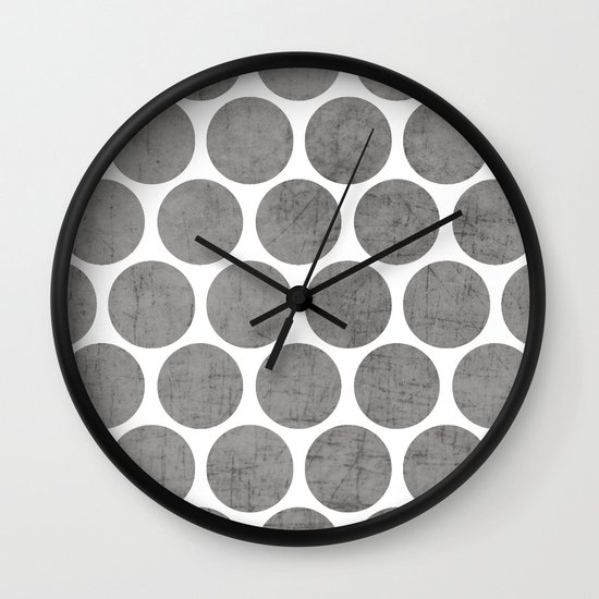 gray polka dots Wall Clock
