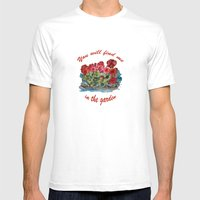 Red Geraniums painting Mens Fitted Tee White SMALL