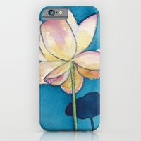 iPhone & iPod Case featuring Lotus on Blue by Reneé Leigh Stephenson