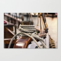 linen rope from the old ship  Canvas Print
