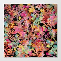 Watercolor Meadow Black Canvas Print