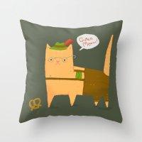 Oktoberfest Kitty Throw Pillow