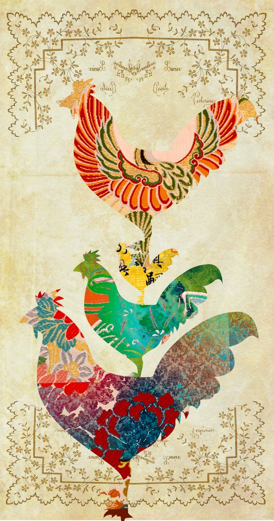 Chinese Lunar New Year and 12 animals  ❤  The ROOSTER 雞 Art Print