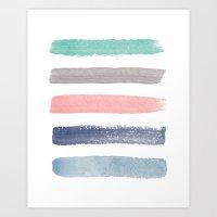 Colored Watercolor Brush Strokes Art Print