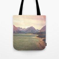 Retro Mountain Lake Tote Bag