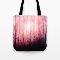 Pink fog in the forest Tote Bag