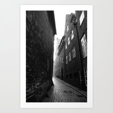 The alley photo in black and white Art Print