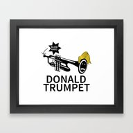 Framed Art Print featuring Donald Trump Trumpet by Pollylitical