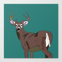 Deer In The Green Canvas Print